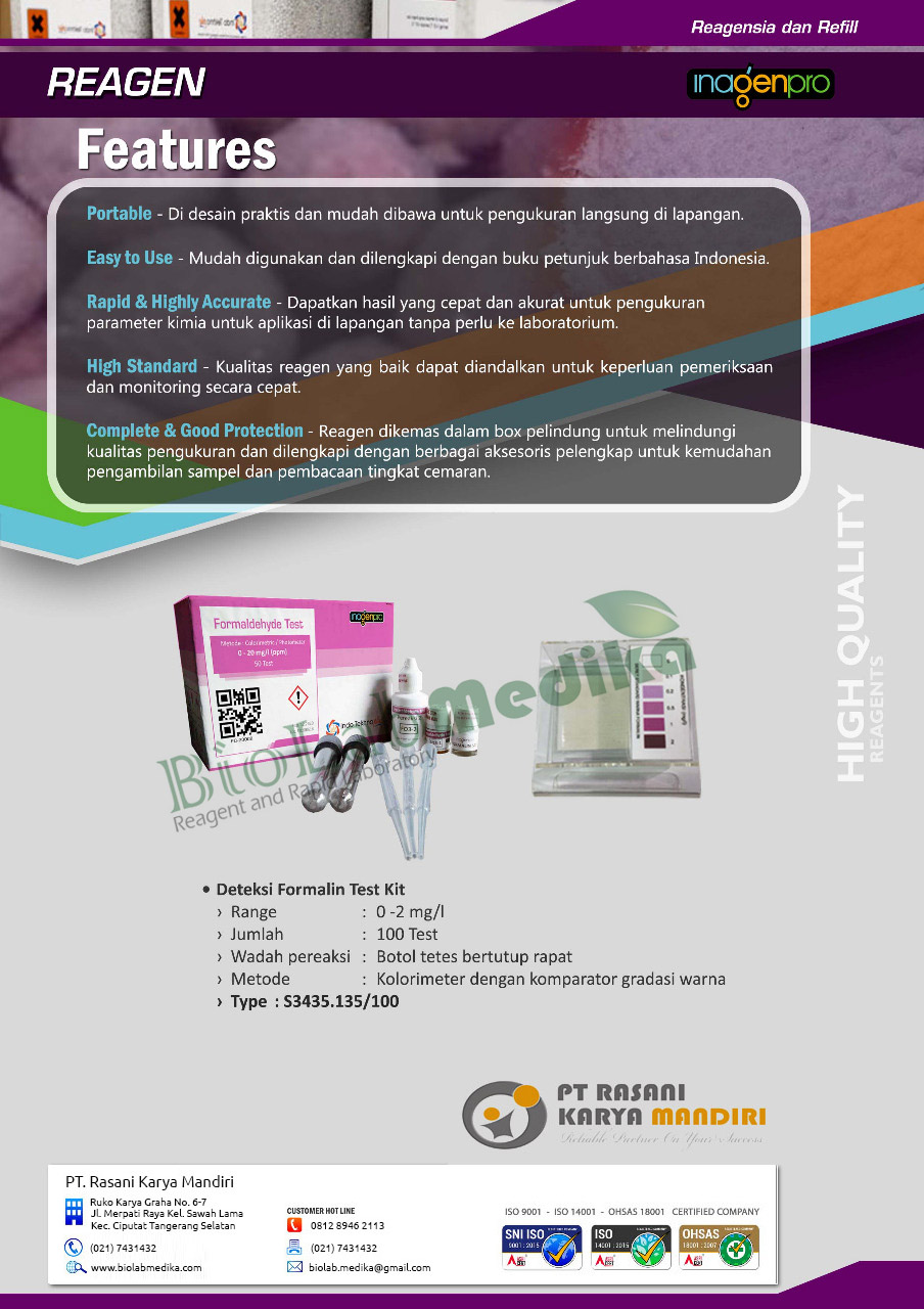 Brosur Test Kit Formalin Inagenpro
